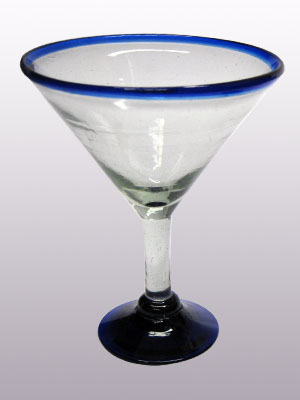 MEXICAN GLASSWARE / 'Cobalt Blue Rim' martini glasses (set of 6)
